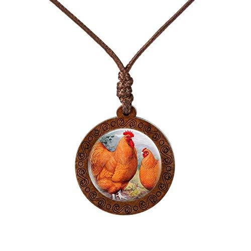 SHOYY Collar de gallo vintage con colgante de animales de granja y cadena de madera, collar de cúpula de cristal, decoración de regalo para amantes de los animales (color metálico: 2)