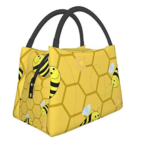 Bolsas de picnic portátiles Bento bolsa de almuerzo abejas abejas panal de abeja colmena multifuncional con cremallera para el trabajo escolar, oficina, bolso de aislamiento Bento