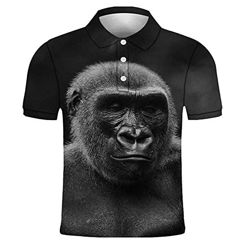 GXRGXR 3D Printed Polo Shirts - Creative Lapel Button Short Sleeve Breathable Shirt -Summer Unisex Animal Orangutan Face Graphic Sport Plus Size T-Shirt for Men Women Tee Top,Style B,XL