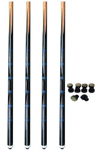 Premiergames Sparpack Billardqueues im 4er Set- Einteiler Blue Line (140 cm)