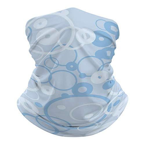 Pañuelo multifuncional unisex con patrón elástico, transpirable, con resistencia a los rayos UV, diseño de círculos, color azul