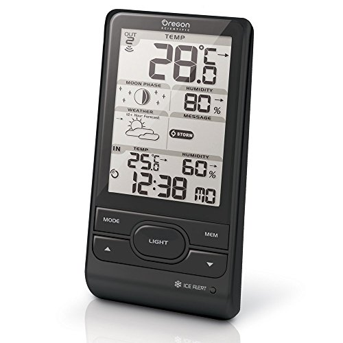 Oregon Scientific BAR208 Weather Station with Temperature and Humidity In / Out, Plastic, Black
