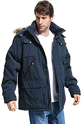 Yozai Mens Winter Parka Insulated Warm Jacket Military Coat Faux Fur with Pockets and Detachable Fur Hood 370 Navy XX-Large