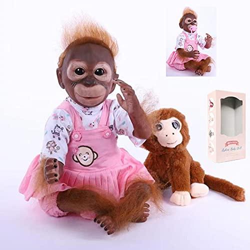 ZIYIUI Reborn Muñecas 52cm 21 pulgadas Reborn Monkey Bebe Newborn Vinilo de Silicona Reborn Doll Toy Regalos de vacaciones para niños
