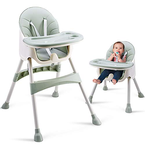 Convertible High Chair Baby Dining Booster Seat Adjustable Feeding Highchair with Tray for Infant and Toddler (Bean Green)