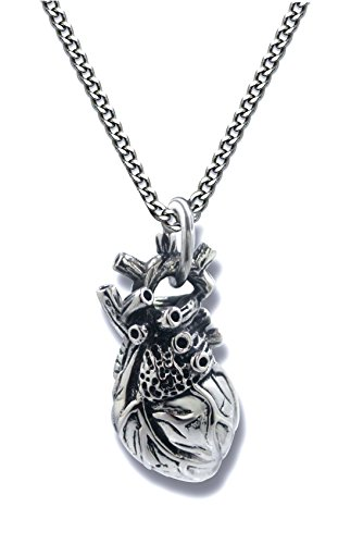Pearlina Anatomical Heart Necklace Man or Woman 3D Pendant Oxidized Antique-Finish Stainless Steel,...