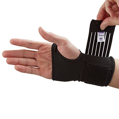 Actesso Elastic Wrist Support with Strap - (M, Black) - Ideal for Sprains, Injury or Sports Use with no Metal bar - Support Without inhibiting Flexibility | Left or Right
