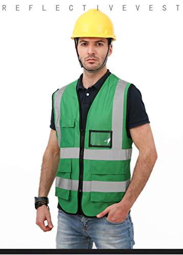 Reflecterend vest veiligheidsvest reflecterende veiligheidskleding werkkleding T-shirt verkeerspolitie werkvest ritssluiting bovenaan multi-pocket-design groen