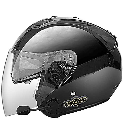 NZGMA Caschi Moto Bluetooth, Casco per adulti a viso aperto Casco Mezzo Casco 3/4 apribile visiera parasole, per Scooter ciclomotore da Strada Cruiser Chopper Mofa, certificazione Dot/ECE B, M