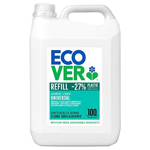 Ecover Waschmittel Universal Hibiskus & Jasmin (5 L/100 Waschladungen), Flüssigwaschmittel mit pflanzenbasierten Inhaltsstoffen, Vollwaschmittel für Erhalt und Schutz der Kleidung