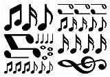 I-love-Wandtattoo Pegatina de Pared Set habitación Infantil Notas de la música de Negro para Pegar Mural Pegatinas
