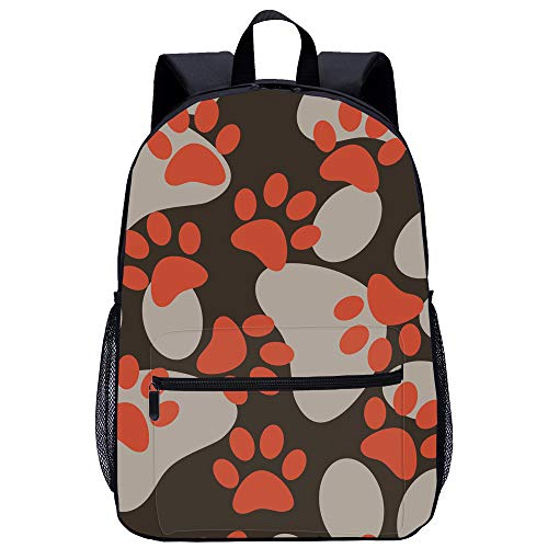 3D Backpack Dog Picture, Dog Footprint Print 17 Inch Primary and Secondary School Backpack, with Front Bag and Schoolbag 31 * 14 * 45cm C