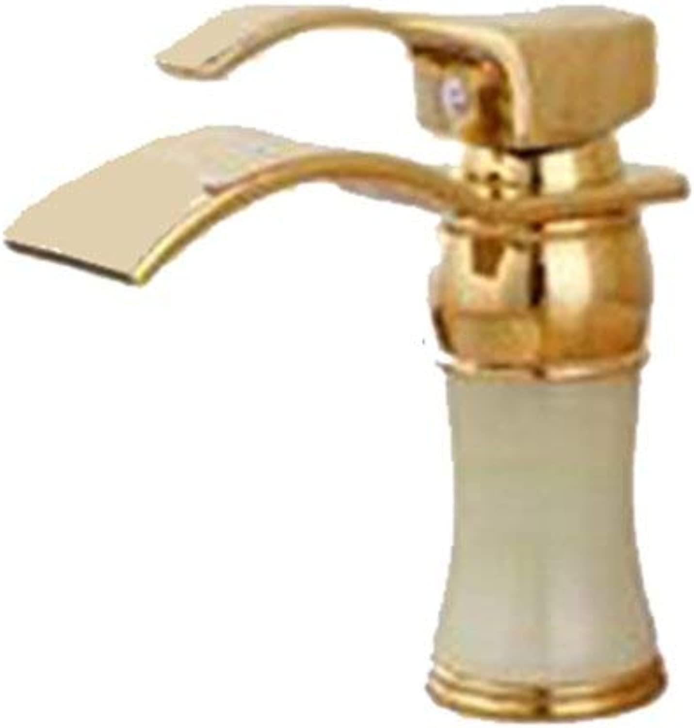 DYR Faucet Faucet All Bronze Hot and Cold gold Faucet Waterfall Type Stage Cymbal Gilded Faucet (color  A)