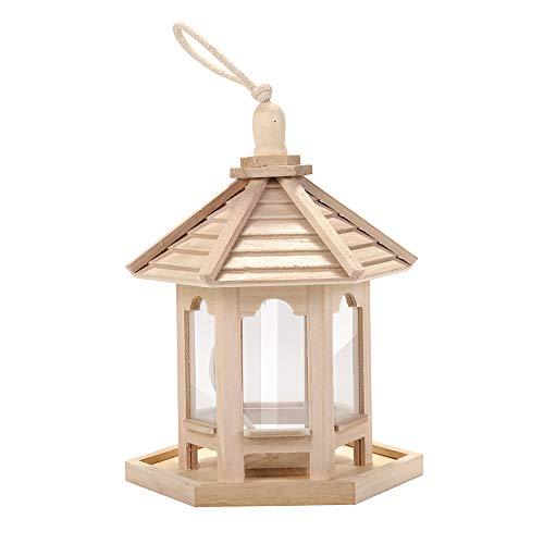 ZXY Comedero para pájaros Comedero para pájaros de Madera Que cuelga para la decoración del Patio del jardín Hexágono en Forma de Techo Atrae pájaros Buscando Comida,Wood Color