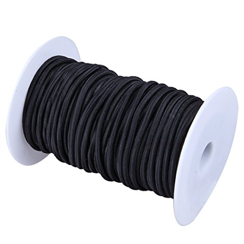 CARTMAN 1/8' Elastic Cord Crafting Stretch String, 10kg x 100ft, Black Color