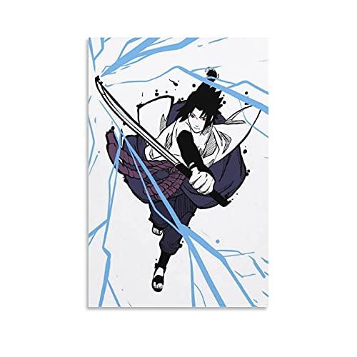 zhuangzhou Póster de paja con diseño de piratas de una sola pieza, diseño de anime Sasuke en lienzo y arte para pared, diseño moderno de dormitorio familiar de 60 x 90 cm