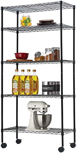 Storage Metal Shelf, 5 Tier Layer Wire Shelving Unit with Casters, Height Adjustable NSF Certified Heavy Duty Shelves, Organizer Wire Rack for Garage Kitchen Office 30' Lx14 Wx60 H, 750 LBS, Black