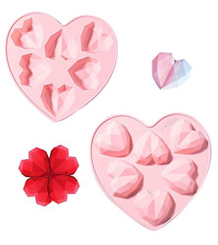 2 Stücke Silikonform Backform Herz,Zum Dessert Mousses Käsekuchen Fondant Auf, Bonbon Schoko ,Mousse Silikonform,Süßigkeiten Deko Förmchen,Kuchenform Silikon