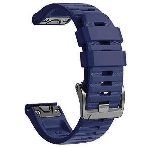 NotoCity Cinturino per Garmin Fenix 6X/Fenix 6X PRO/Fenix 3/Fenix 3 HR/5X/Fenix 5X Plus/, 26mm Cinturino di Ricambio in Silicone, Braccialetto Quick-Fit, Colori Multipli. (Blu Scuro)