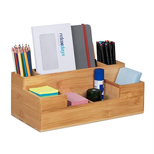 Relaxdays Schreibtisch, 7 Fächer, Bambus Organizer, Büro, Küche, Bad, Tischorganizer HBT 11x30x15cm, Natur, 1 Stück