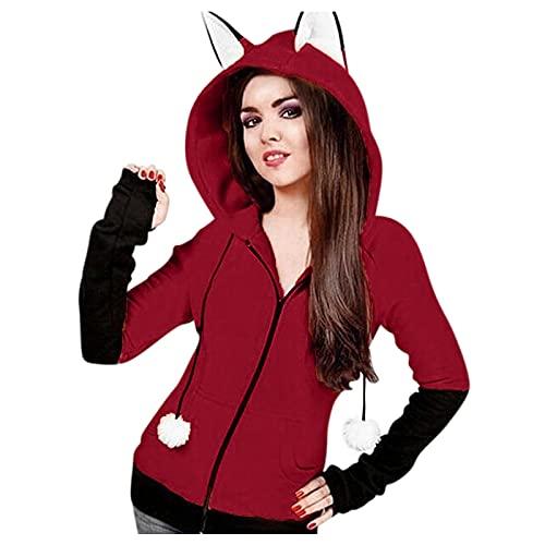 Crop Y2k - Sudadera con capucha y cremallera para mujer, diseño de orejas de gato, manga larga, estilo gótico, para otoño, Vino, L