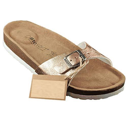BIOSOFT Damen Sandale MILA Frauen Schuh Sandalette | Pantolette | Hausschuh | Pantoffel mit verstellbarem Riemchen Verschluss - rosa | rose | rosegold metallic Gr. 40 - fällt kleiner aus Sohle 26,5 cm