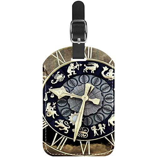Reloj Tiempo Destino Etiquetas para Equipaje niños Etiquetas Grandes de Cuero Etiquetas Iniciales Conjunto de Etiquetas para Maletas 7x11.4cm