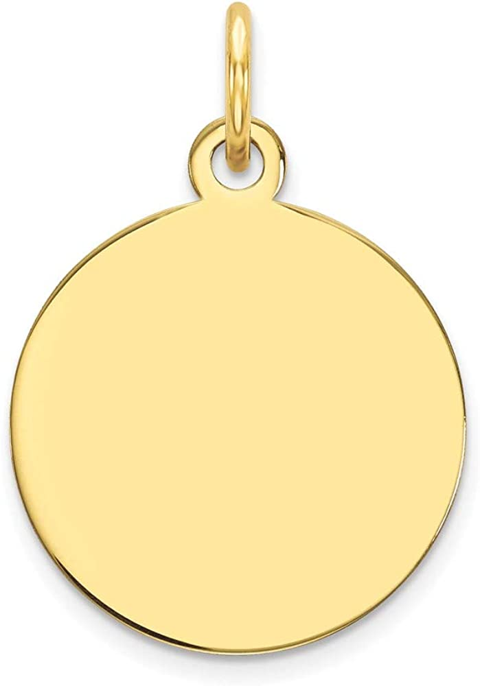 10K Yellow Max 70% OFF Gold Plain .018 Product Gauge Charm Circular Disc Engravable