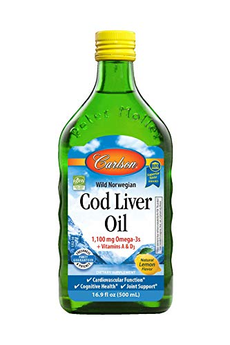Carlson - Cod Liver Oil, 1100 mg Omega-3s, Liquid Fish Oil Supplement, Wild-Caught Norwegian Arctic Cod-Liver Oil, Sustainably Sourced Nordic Fish Oil Liquid, Lemon, 500 ml