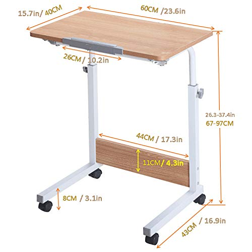 Steel Pipe Desk with Brown MDF,Lockable Casters, Adjustable Height, Swivel,Small Office Table for Eating on Bed
