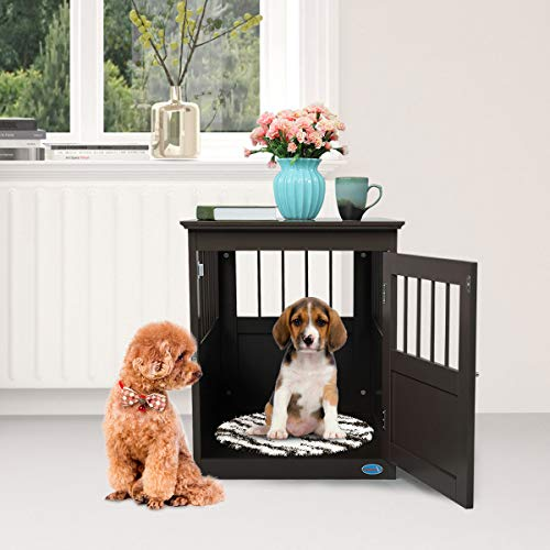 "COZIWOW Dog Wooden Crate Kennel Cage - Bed Night Stand End Table Wood Furniture Cave House Room Large Size/Brown, 27.5"" H Crates Furniture-Style"