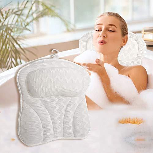 Mr. Bathif Bathtub Pillow Breathable Bath Pillow for Tub, Ergonomic Bathtub Cushion for Neck, Head Rest & Shoulders, Spa Bath Pillow for Women & Men