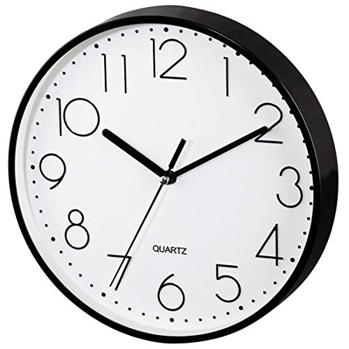 Hama Wanduhr ohne tickgeräusche (leise Wohnzimmer-Uhr mit großem Ziffernblatt, analoge Küchenuhr inkl. Batterie) schwarz
