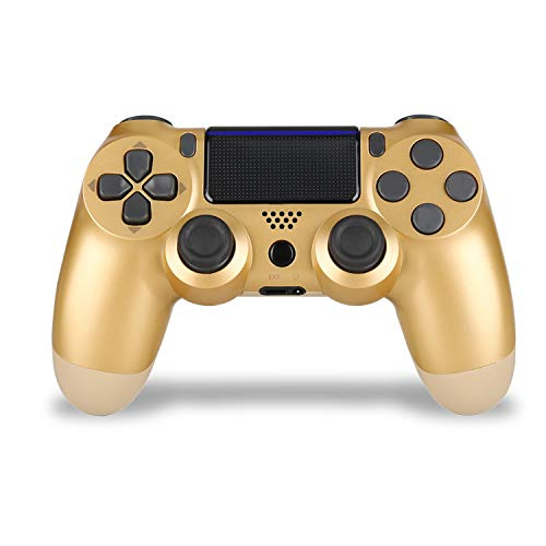 Gold YU33 Wireless Game Controller Compatible with Playstation 4 System, for PS4 Console with Touch Pad/LED Indicator/charging cable/Stereo Headset Jack(2021 New Glod Joystick)