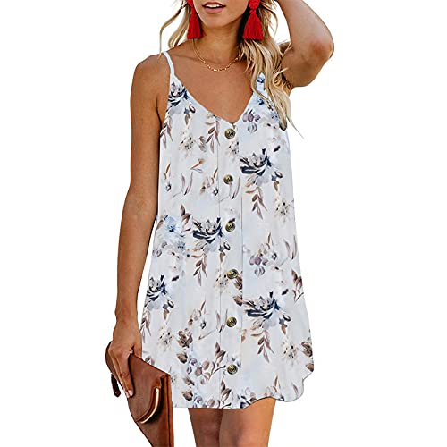 WHZXYDN Summer Women's Buttoned Printed Top Sleeveless Shirt Mid-Length Dress White