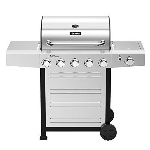 RINKMO Propane Grill,GG-24BBQ 670 sq inch 5 Burner Gas Grill,Movable BBQ Grills with Side Burner Grills Propane