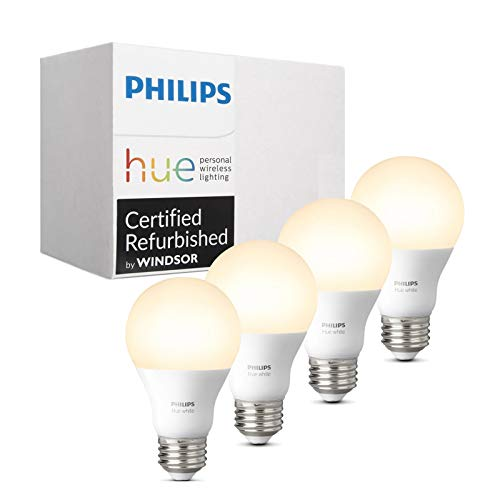Philips Hue White A19 4-Pack 60W Equivalent Dimmable LED Smart Bulb (Compatible with Amazon Alexa Apple HomeKit and Google Assistant)