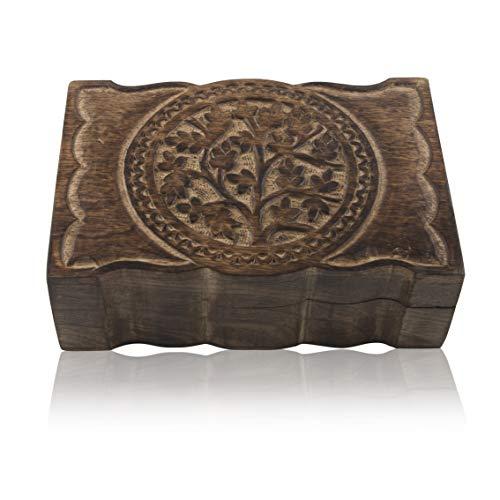 Joyero de madera hecho a mano con diseño de árbol de la