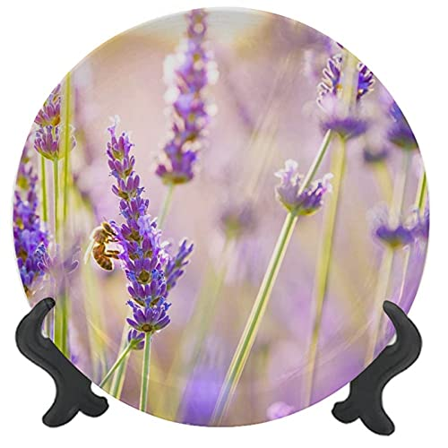 3D Printed Ceramic Dinner Plate Flowers Lavender Porcelain Stoneware Round Plate Decor Accessory for Home & Professional Fine Dining, Upscale Events 8 inch