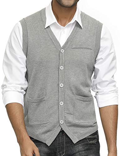 Men's Sweater Vest Vintage Button Down Sleeveless Knitted Cardigan Vest Grey L