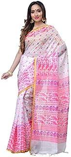 T.J. SAREES Women's Handloom Cotton Silk Hand Print Jamdani Saree (White and Pink)