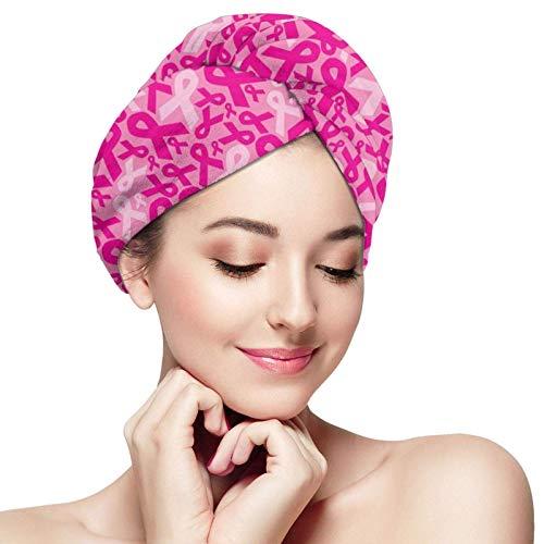 Toallas para secar el cabello, cintas para el cáncer de mama, gorros para el cabello de secado rápido, toallas de ducha suaves con botones, gorro para el cabello seco para salón