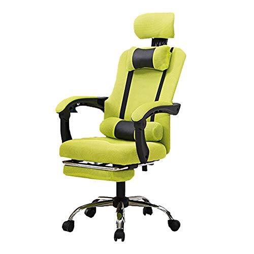 Bürostuhl Chefsessel Drehstuhl, Hochwertiger Gaming Stuhl, Höhenverstellbarer Drehstuhl, Boss Stuhl, Hebedrehstuhl, Zurücklehnen WXIFEID (Color : Green)