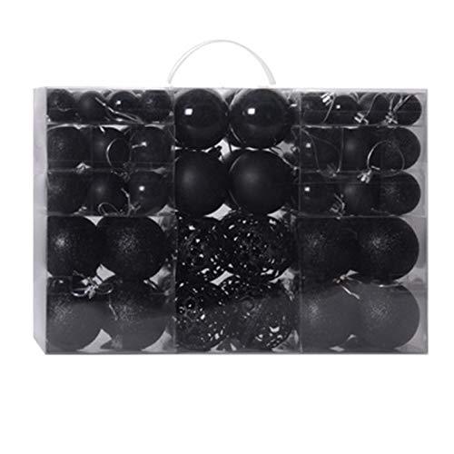 GeKLok Chirstmas Ball Ornament, 100 palline di plastica per albero di Natale, decorazioni da appendere, palline di Natale per feste di Natale, colore nero