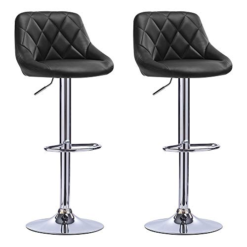 CHIFAN Bar Stools Adjustable Swivel Counter Height Bar Chairs with Back Barstools 1/2 pcs PU Leather Swivel Bar Stool Kitchen Counter Stools Dining Chairs, Chrome Steel Footrest & Base