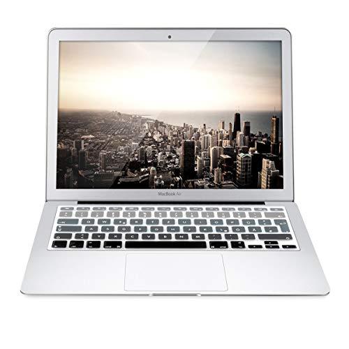 kwmobile Tastaturschutz kompatibel mit Apple MacBook Air 13''/ Pro Retina 13''/ 15'' (bis Mitte 2016) - QWERTZ Silikon Laptop Abdeckung Schwarz Grau