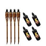 Moritz 4 antorchas de bambú Deluxe 90 cm marrón oscuro + 4 x 1000 ml de aceite de lámpara antorcha de jardín antorchas de aceite decoración jardín lámpara de aceite para caminos