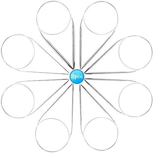 Agujas de Tejer Circulares - Juego de 8 Agujas Circulares de Acero Inoxidable, Agujas Circulares de Metal Para Tejer Redondas, Juego de Agujas Circulares Punto Fijo 8 Tamaños Para Tejer a Ganchillo