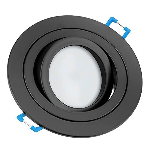 Tevea Premium LED Einbaustrahler Schwenkbar - Matt Schwarz - Warmweiß - LED Modul IP44 230V 5W austauschbar - Einbauleuchte auch fürs Bad - in 2 Lichtfarben und 3 Spot Farben erhältlich