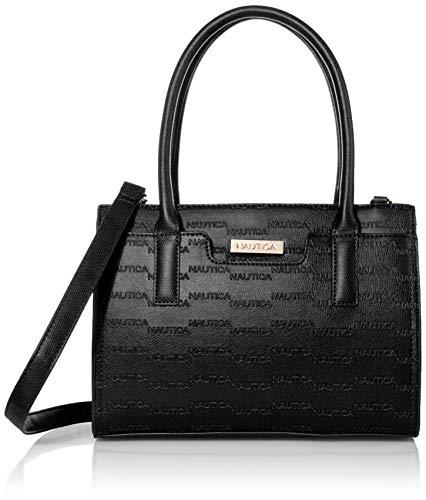 Nautica womens Sandy Jr. Top Handel With Removable Crossbody Strap Satchel Bag, Black( Embossed Logo), One Size US